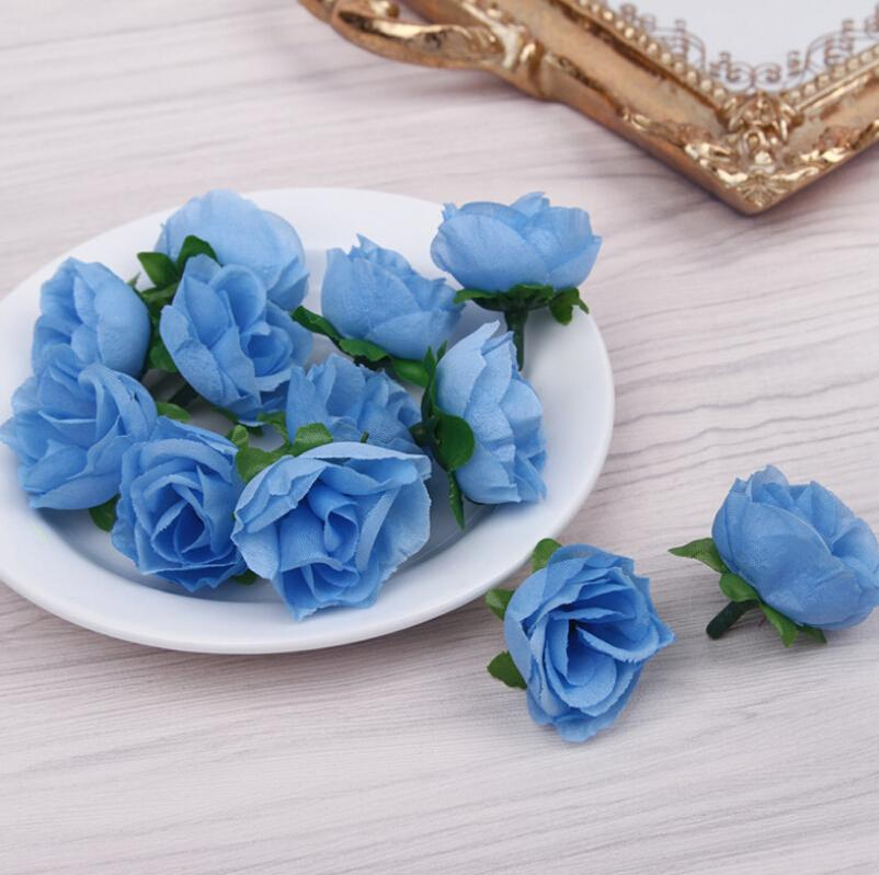 Falso Artificial Rose Flower Cabeça 3 centímetros presentes do partido floral de seda casamento buquê de noiva Decoração DIY grinalda do Scrapbook
