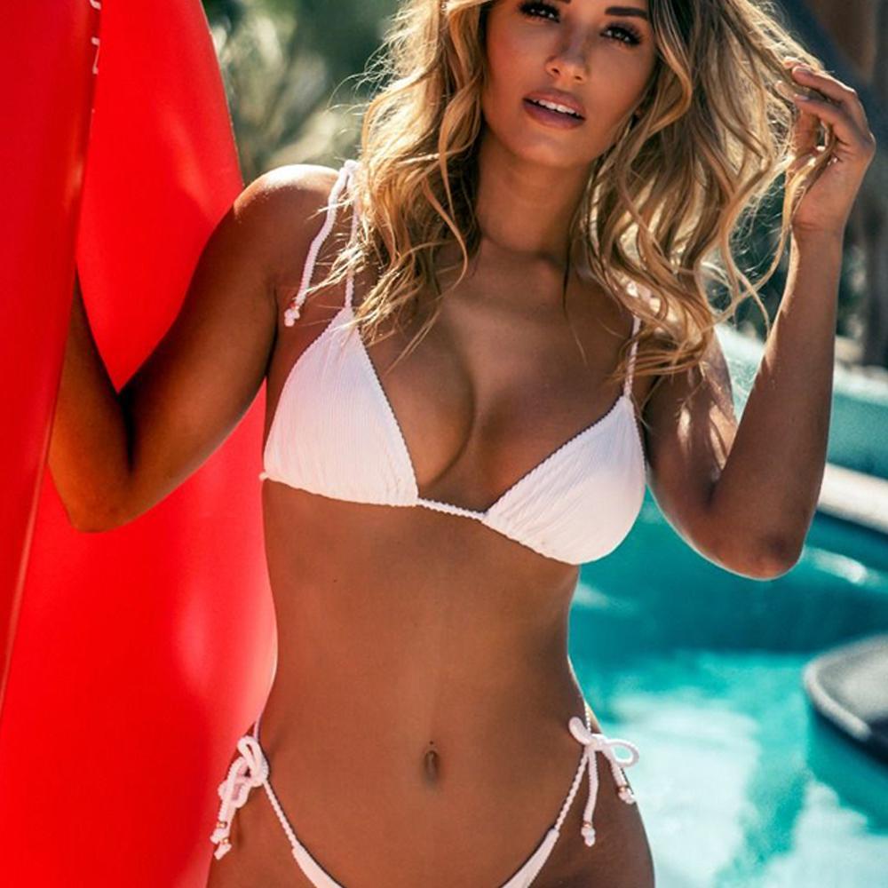 96dae88783d9 Bikinis 2018 Mujer Tanga Bikini Set Mujeres Color sólido Vendaje Push Up  Traje de baño acolchado Traje de baño Playa Traje de baño Mujer Traje de  baño
