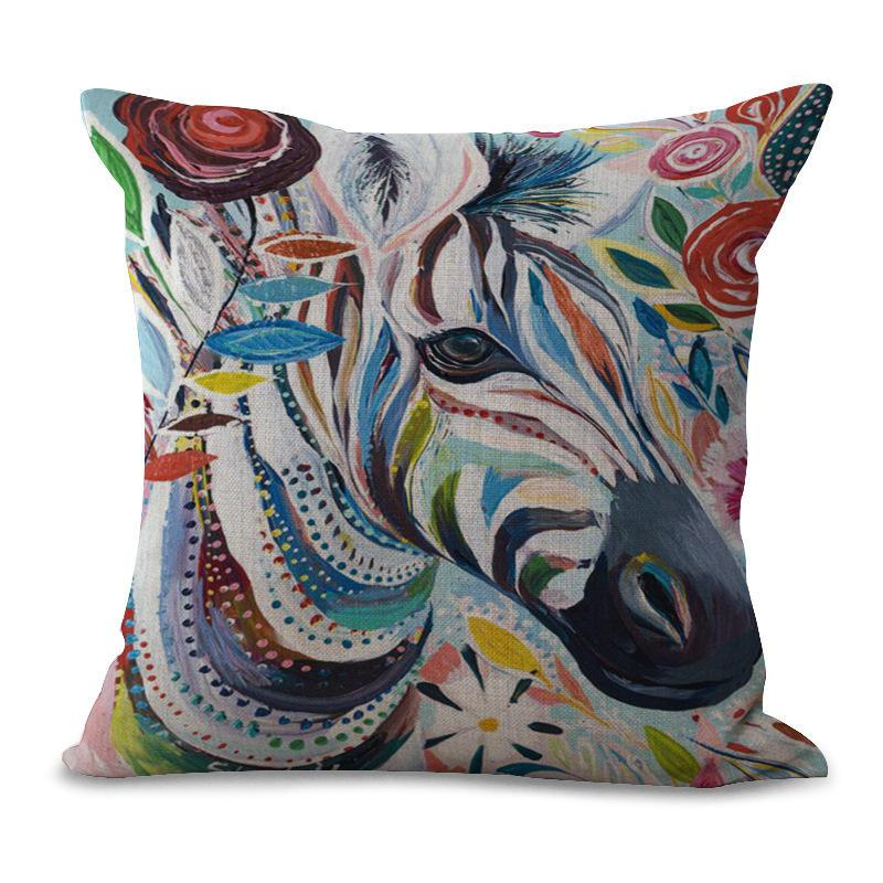 Coloré Elephant Owl Case Chat Cheval animal Oreiller Coussin lin coton Throw Place Taie Accueil Couverture Décor Drop Ship 300687