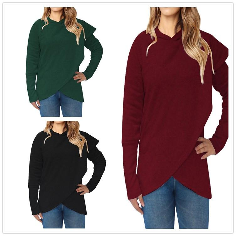 d421171175c Women Clothing Irregular Pocket Hoodie Solid Pullover Sweatshirt S ...