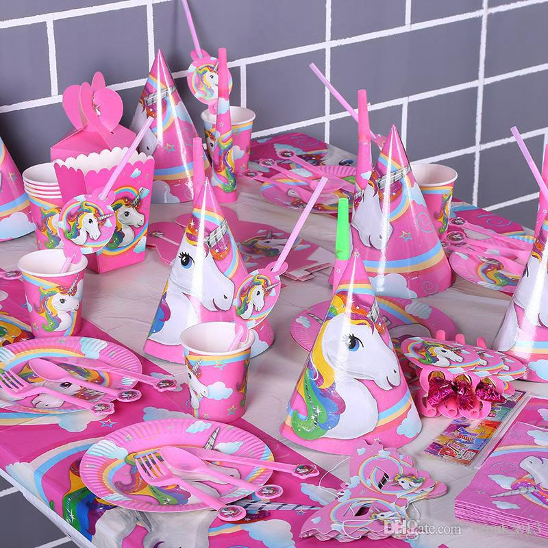 Hot Sale Unicorn Birthday Party Decorations Kids CartoonbTableware Sets 1st Paper Cup Hat Napkins Supplies Set RRA5