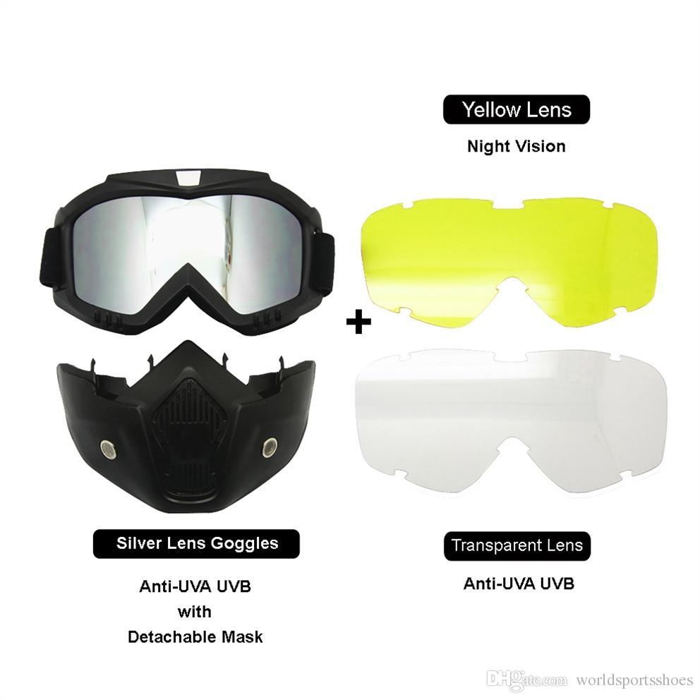 9aa2c586d1 Motociclismo Mascarilla Facial Casco Gafas Kit De Intercambio De Lentes  Cambio De Lentes Acolchado Protector Visión Nocturna Ciclismo Gafas De Sol  Carreras ...