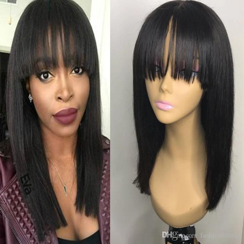 100% Human Hair Lace Front Wigs With Bangs Straight Brazilian Virgin Hair Full Lace Wigs For Black Women Black Brown Color High Density