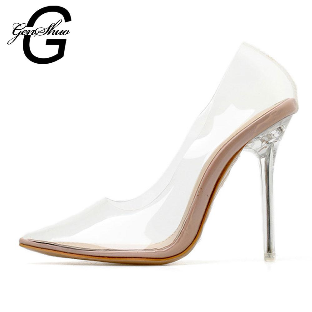 1c086f7ce3 GENSHUO Clear PVC Transparent Pumps Sandals Perspex Heel Stilettos High  Heels Point Toes Women s Party Shoes Nightclub Pump Rosy