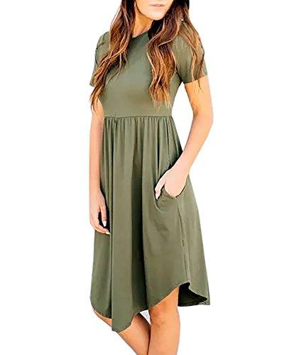 Kathemoi Womens Midi Dresses Short Sleeve Loose Pleated Casual Tunic T Shirt Dress Pockets