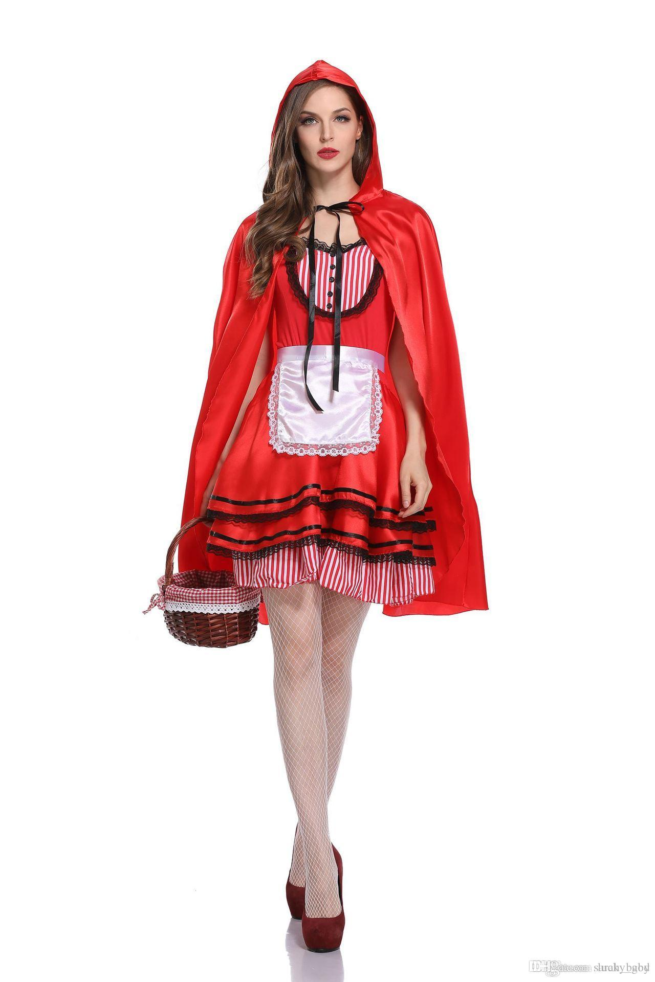 4dc3cd86a3b 2018 new Halloween costume adult Little Red Riding Hood COS dresses up  fairy tale princess dress Christmas costume online free