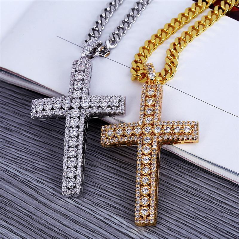 f60de0400997 Compre Cruz Religiosa Colgante Collares Para Hombres Bling Hielo Fuera Jesús  Crucifijo Collar Cubic Zirconia Lujo 18 K Collar Plateado Oro Joyería A   36.19 ...