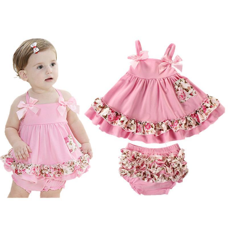2018 Summer Baby Clothing Newborn Baby Girl Clothes Dress Infant Sling Bat Roupas Body Bebes Baby Dress 2 Pcs Set