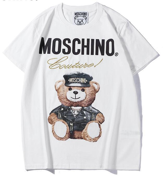 Free Shipping Tee white cotton Bear pattern letter print short sleeve O-neck T-shirt men and women t shirt wear casual tee S-XXL