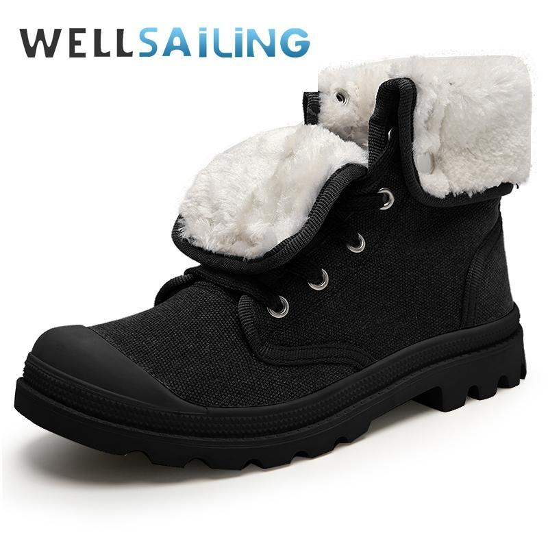609f98d145 Winter Men Canvas Boots Army Combat Style Fashion High-top Ankle Boots  Meale Fur Warm Snow Non-slip Shoes X-186