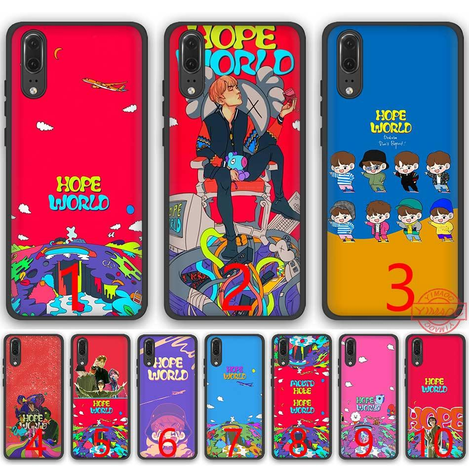 new concept a82d3 3f118 bts Bangtan Boys Hope World Soft Silicone Black TPU Phone Case for Huawei  P8 P9 P10 P20 Lite Pro P Smart Cover