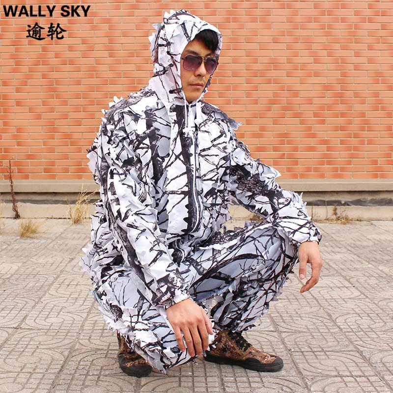 23e99790466b9 Winter Men's Snow Camo White 3D Leaf Tree Branches Bionic Camouflage Hunting  Suit Tractical For Outdoor Sports Wild Ghillie Suit