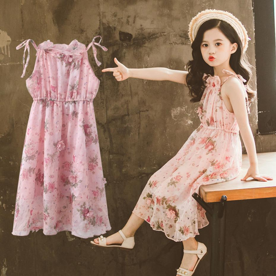 b6fc71548 Vestido para niñas Vestido floral de playa para niños Ropa sin mangas para  niñas adolescentes de verano 6 8 10 12 13 14 años