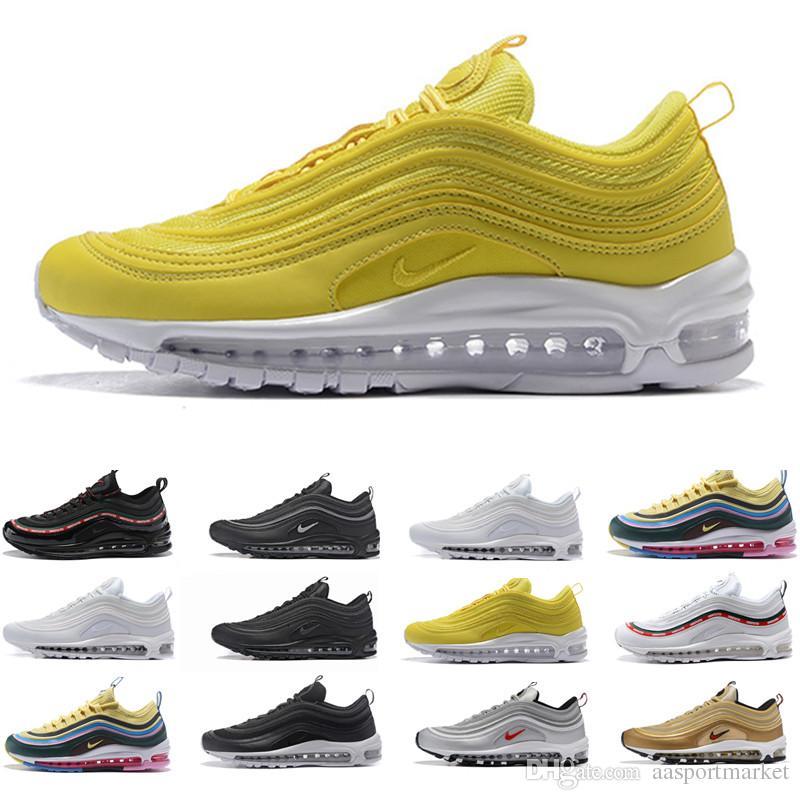 2019 Nike Air Max 97 Mens Designer Zapatillas de deporte Invicto XX aniversario Negro Metallic Gold Silver Bullet Las mejores zapatillas deportivas