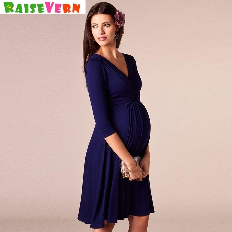 4ffd7f4caa Sexy Maternity Pregnant Mother V-neck Mini Dress Photography Props Women  Pregnancy Clothes Nursing Dresses Q190521