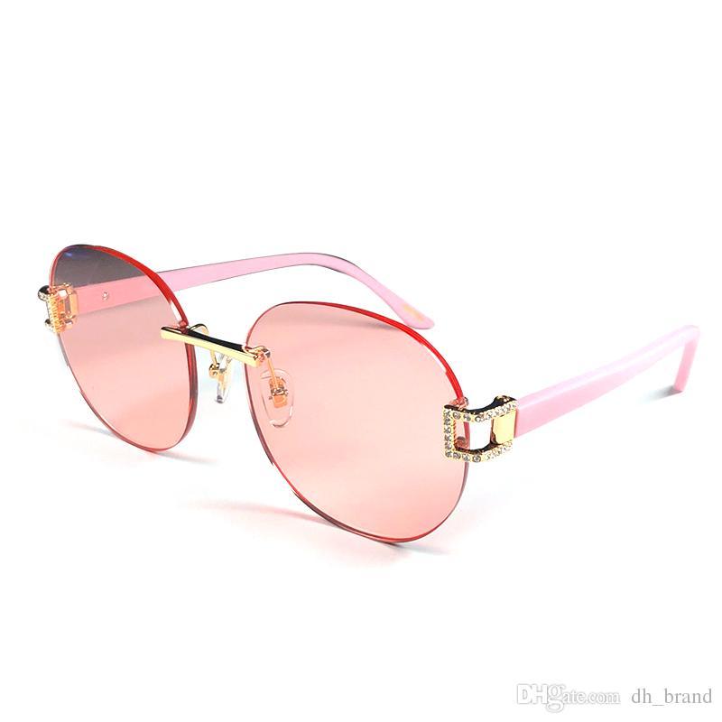 93dbd107de6 Women Round Sunglasses 2019 Brand Designer Rimless Frame Sun Glasses Female  Vintage Ladies Shades Eyewear UV400 8094