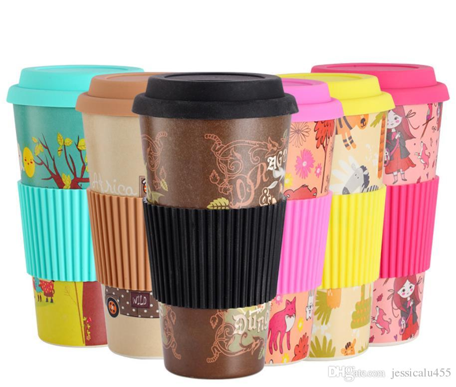 17.6 oz 500ml high and low temperature resistant hot stamping lid coffee cup with silicone sleeve green bamboo fiber coffee mugs
