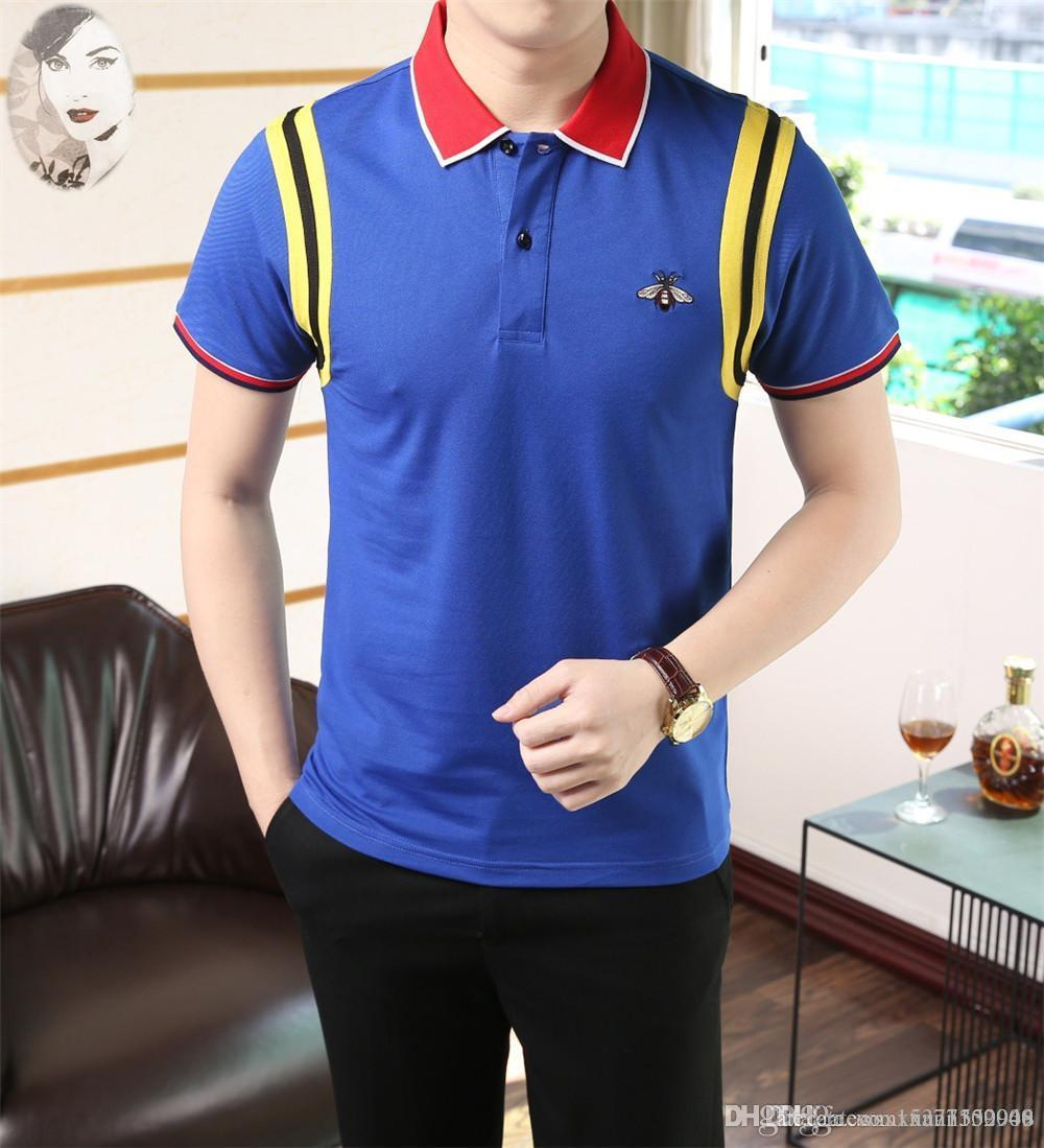 2019 Summer Men/'s Short-sleeved Commercial Pure Cotton Large POLO T-shirt