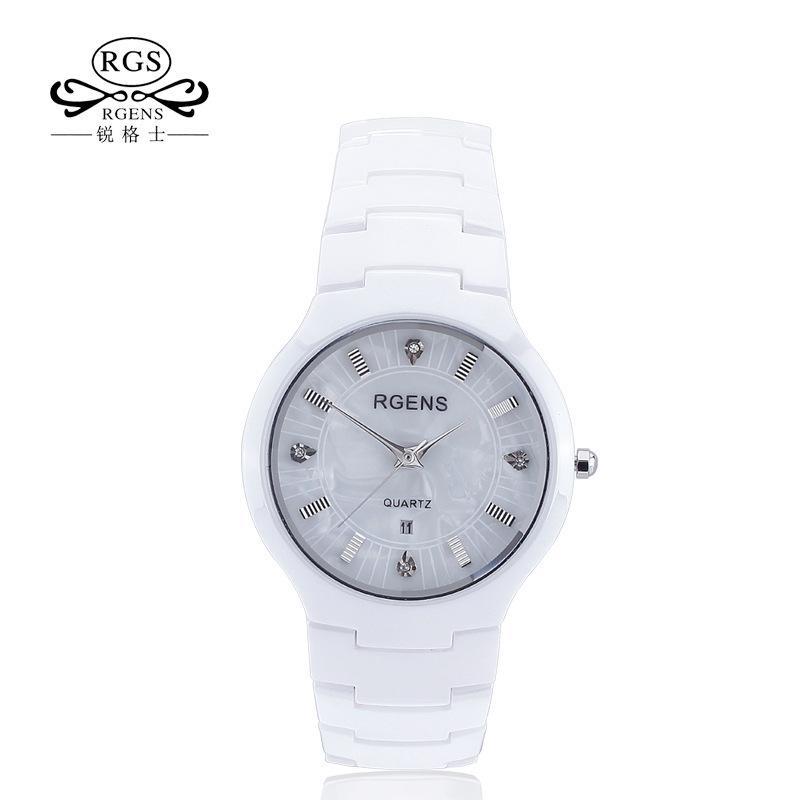 49bb510f3f78 Compre Rgens Original Para Mujer Reloj De Cerámica Blanco Negro Relojes  Para Mujer Casual Impermeable Relojes De Pulsera De Lujo Marca De Diamantes  ...