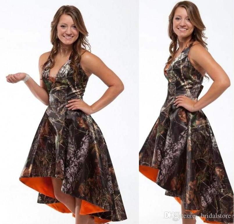 e95ad933d0415 Sexy Camo Prom Dresses High Low Halter Camoflage Camo Cheap Bridesmaid  Dresses 2015 Best Sleeveless Formal Party Evening Gown Short Cocktail Short  Prom ...
