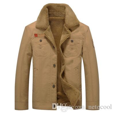 fe6aa001d 2018 Winter Men Bomber Jacket Air Force Pilot Jacket warm fur collar Male  Tactical Military coat Plus velvet Mens Jacket 6XL