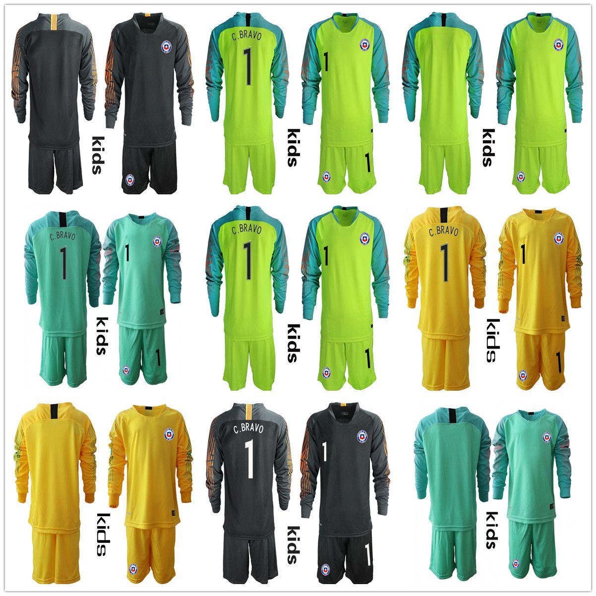 4718ca19478 2019 Long Sleeve Youth 2018 2019 Kids Boys Soccer Jerseys  1 C. BRAVO Chile Goalkeeper  National Team GK Jerseys Kid Football VALDIVIA Kid Uniform From ...