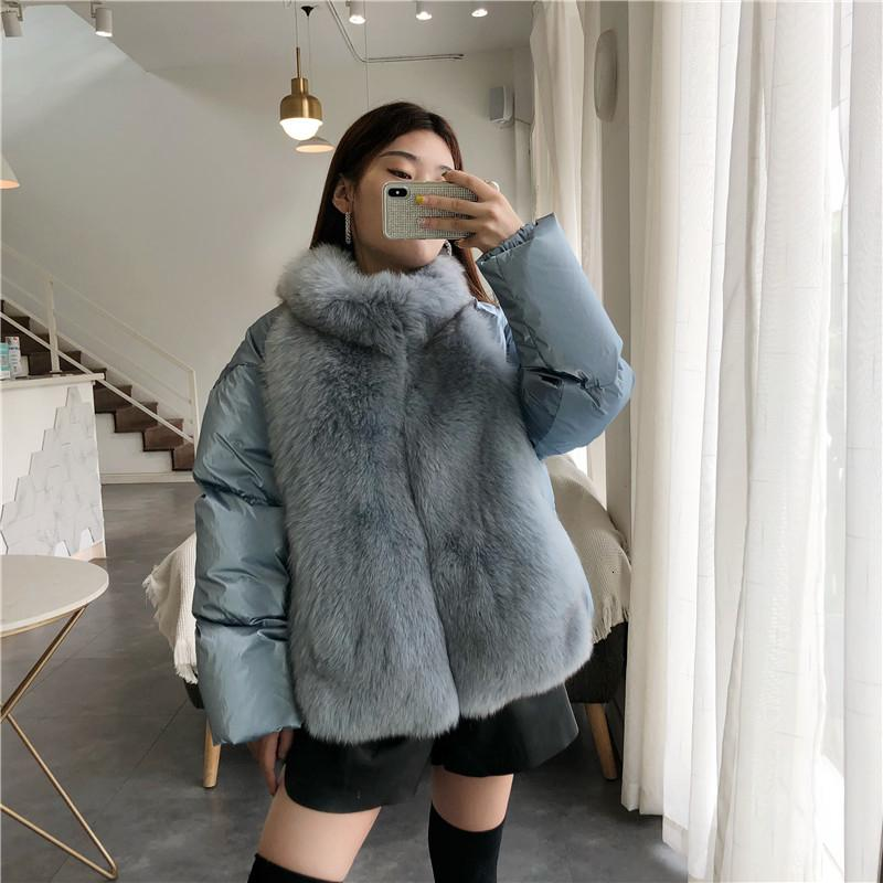 2019 winter jacket women real fur coat natural fox fur collar loose short coat sliver white duck down SH190930