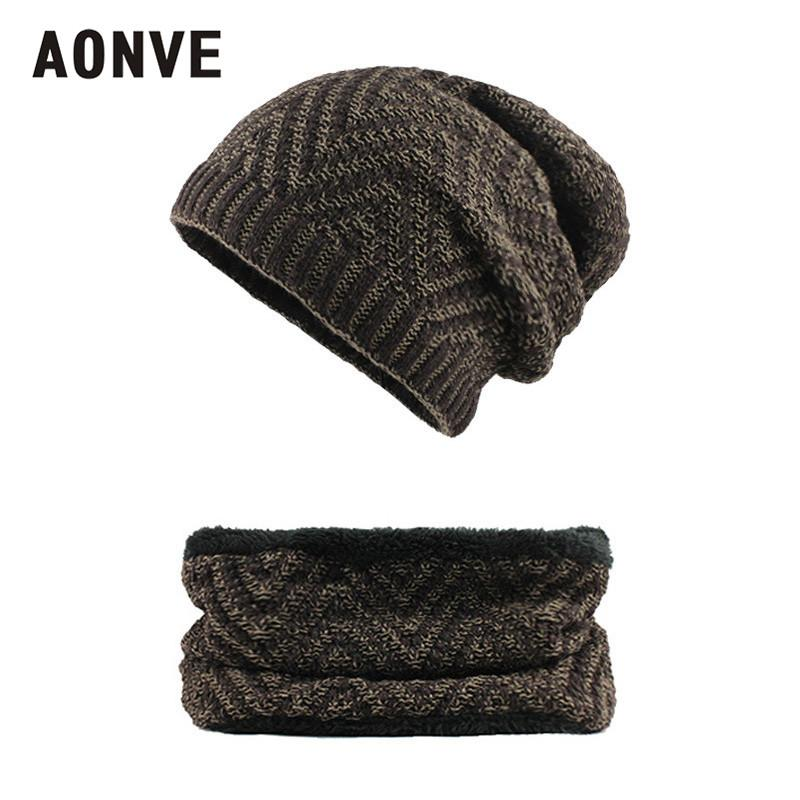 a185d16ceda Aonve Winter Knit Bonnet With Tube Scarf For Men Casual Warm Velvet ...