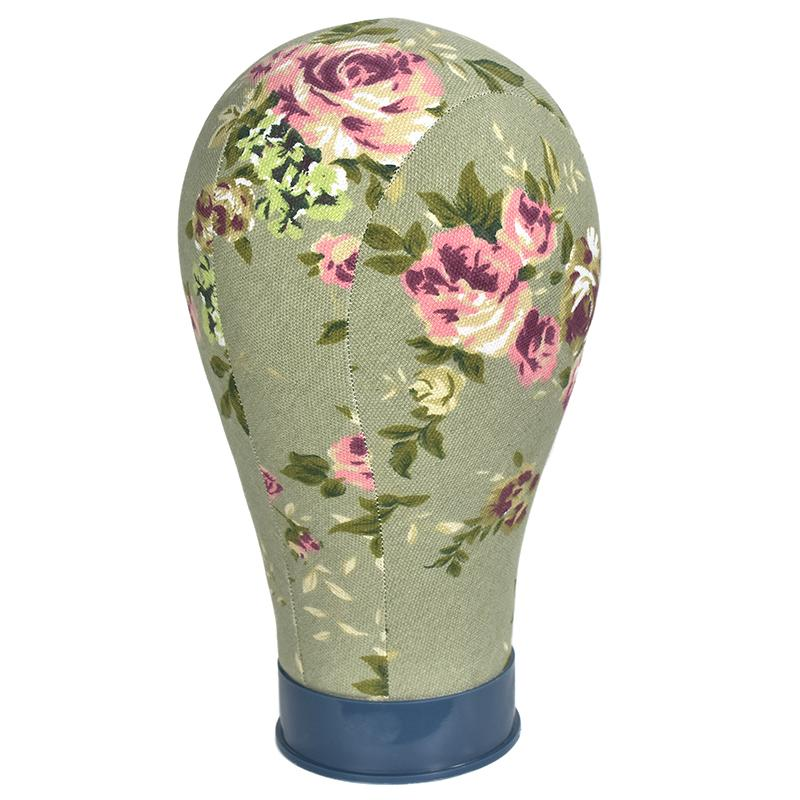 Pink Flower Canvas Block Manikin Mannequin Head Model For Hair Extension Toupee Lace Wig Making Styling Cap Display Stand