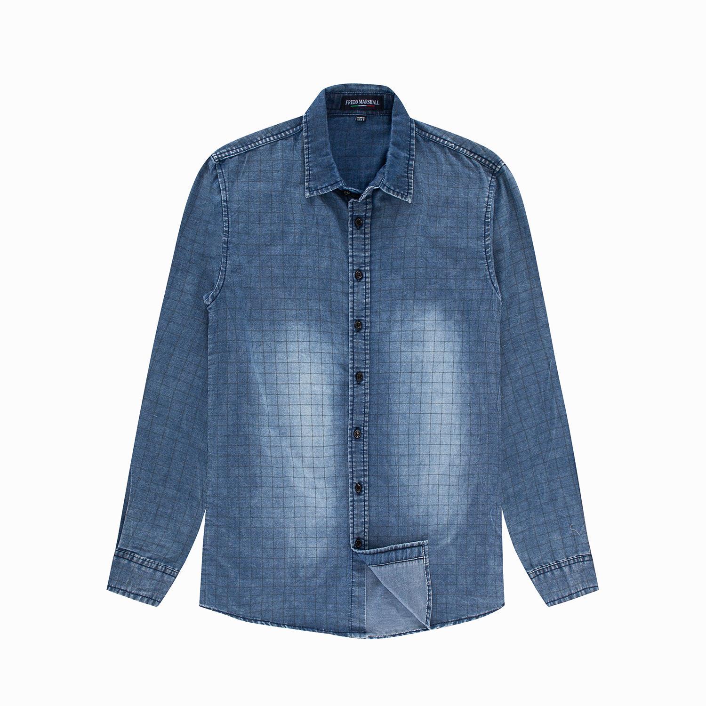 779b9aeb89 Denim Shirt for Men Casual Clothing Long Sleeve 100% Cotton Plaid ...