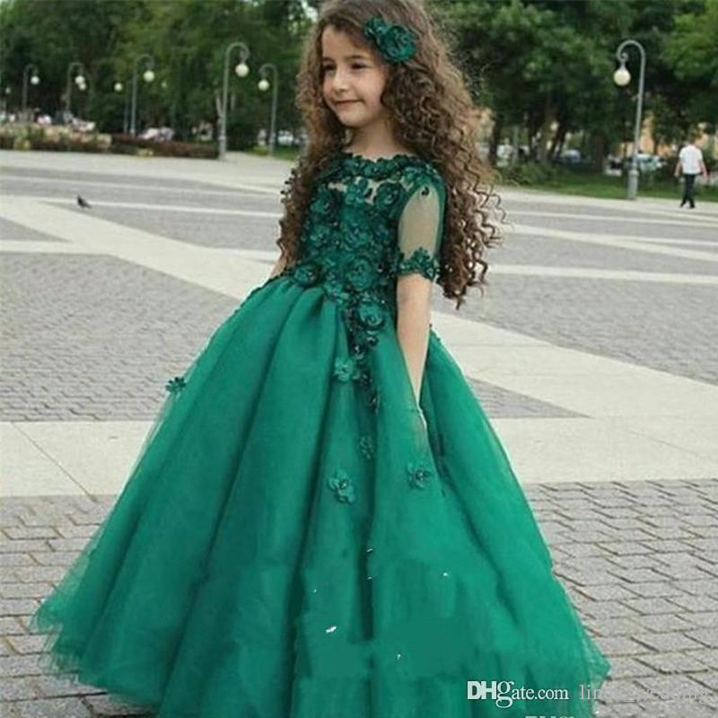 d153e6a96 2019 Hunter Green Hot Cute Princess Girl's Pageant Dress Vintage Arabic  Sheer Short Sleeves Party Flower Girl Pretty Dress For Little K