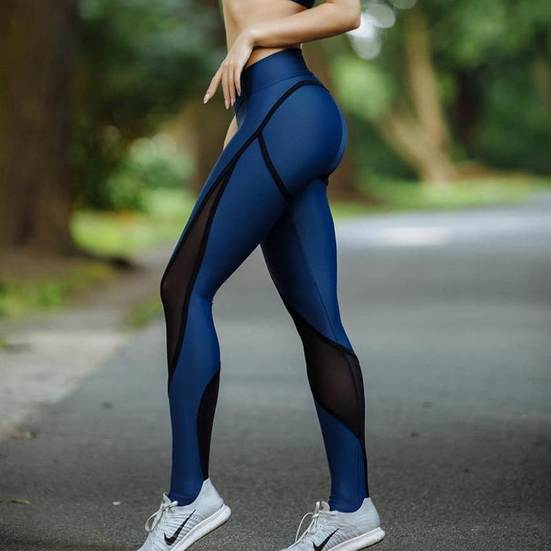 Blau Neu Und Schwarz Patchwork Frauen Mesh Leggings Sexy Push Up Slim Jeggings Hohe Elastische Taille Atmungsaktive Fitness Leggings