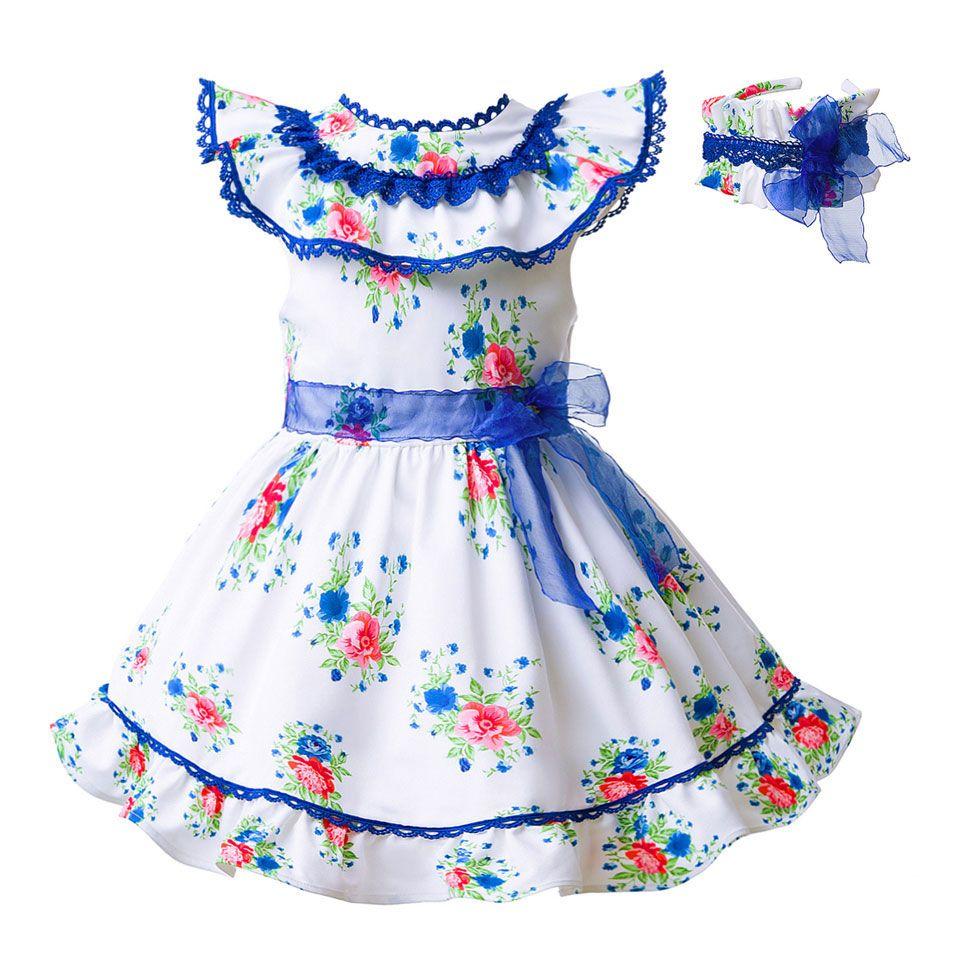 Compre Pettigirl Verano Estampado De Flores Vestidos Para Niñas Bebés Y Niños  Vestido Sin Mangas Con Cinturón De Encaje Azul Y Diadema G DMGD101 A206 A  ... 9e9590e39ec4