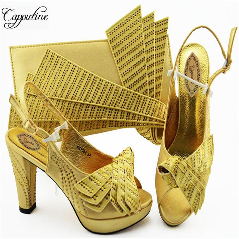 5b89619a04d Gold Color Rhinestone African Woman Shoes And Bag Set 2019 Summer ...