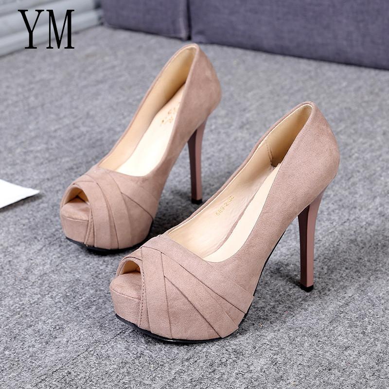 Designer Dress Shoes Hot Sale Platform Woman Peep Toe 12CM High Heels Pumps  Sexy Nude Women High Heels Fashion Wedding Bridal 35 39 Black Shoes Nude  Shoes ... 17f726a58c46