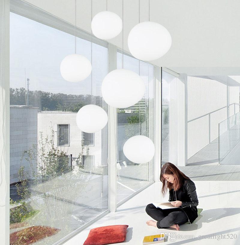 Anormal Cobblestone Sarkıt Süt Cam Avize Globe kolye Aydınlatma Bırak Işık İçin Restoran Cafe Salon