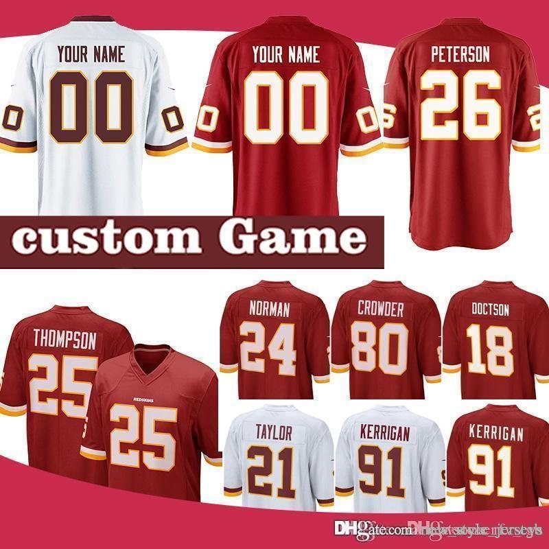 new concept e0b6f a69e6 Washington Men Redskins jerseys 26 Adrian Peterson 91 Ryan Kerrigan 25  Chris Thompson Jonathan Allen 80 Jamison Crowder