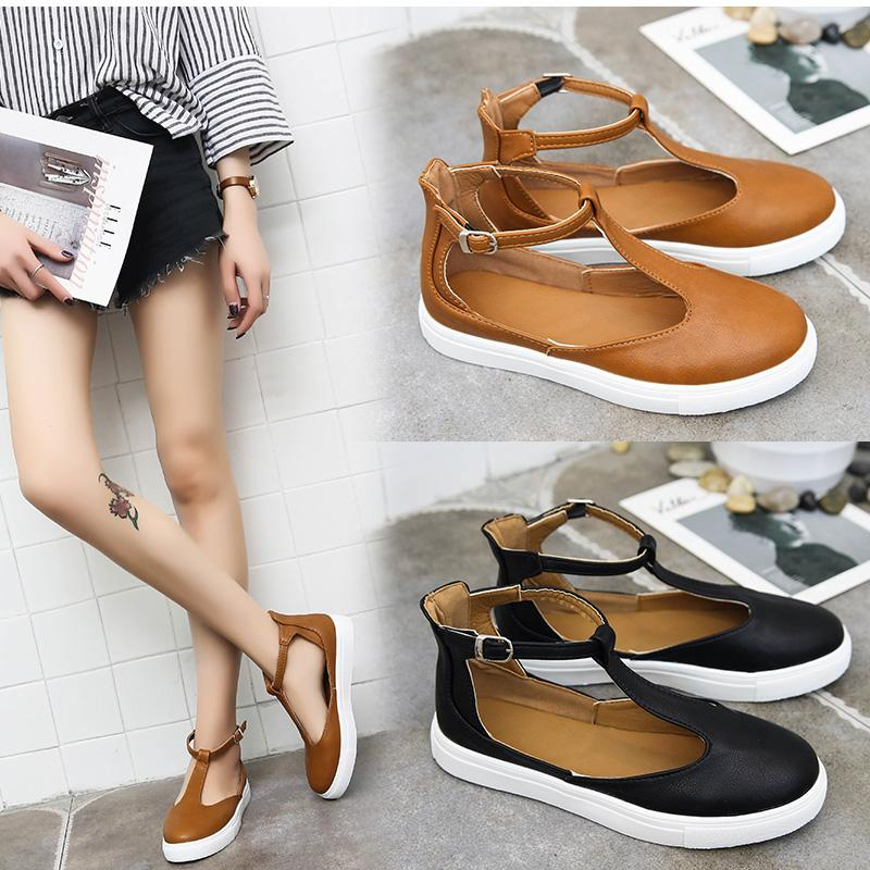 KHTAA Women Sandals Plus Size Summer Female Flat Shoes T Strap Platform Woman Buckle Strap Sandal Casual Ladies Footwear