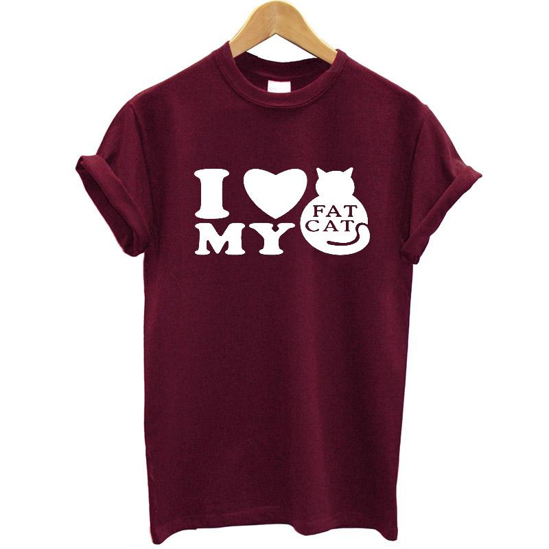 632aa05a I Love My Fat Cat Printed Women T Shirt Cotton Short Sleeve O Neck Funny T  Shirt Women 2019 Streetwear Casual Tee Shirt Femme Fun T Shirts Online  Shirts ...