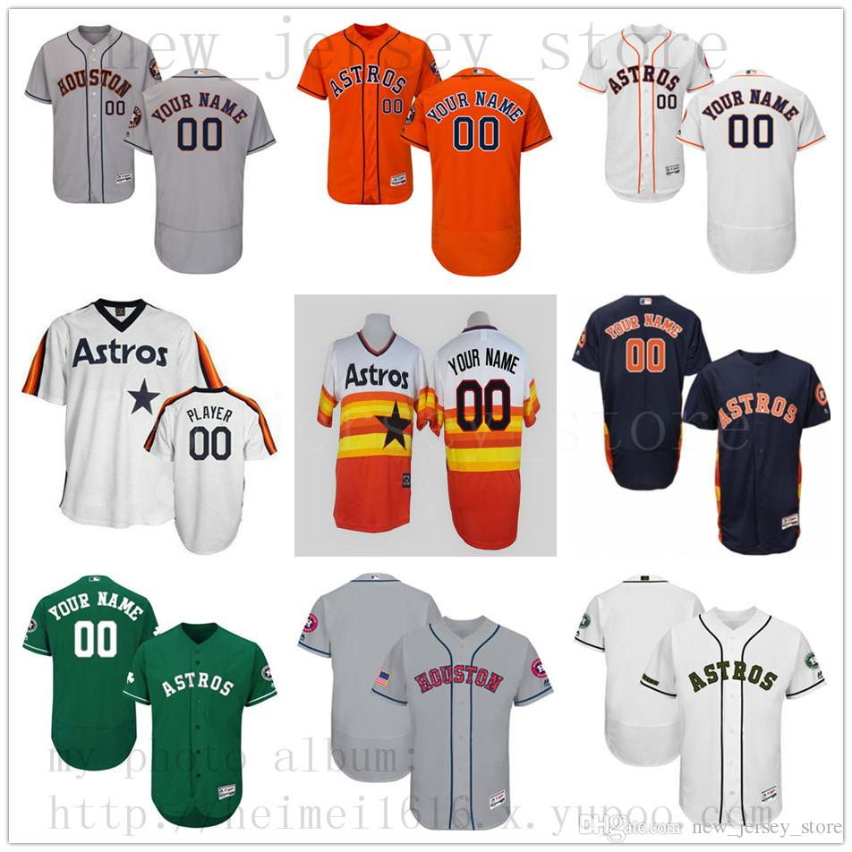 release date 504a7 13aaf Custom HoustonAstros 2019 New Men Womens Youth Jerseys White Blue Green  Grey Orange Stitched any Name Any Number Jersey