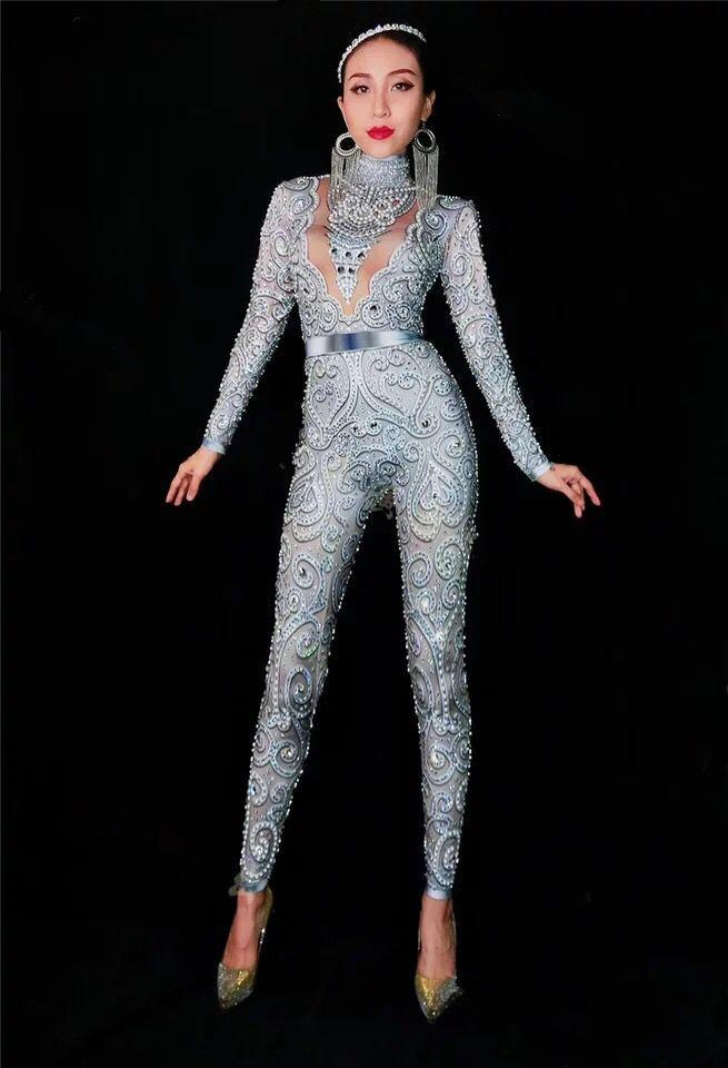 6475755fd33f 2019 High Quality Grey Long Sleeve Beading DJ Party Bodycon Jumpsuit  Nightclub Party Sexy Jumpsuit From Cutelove66, $106.82   DHgate.Com