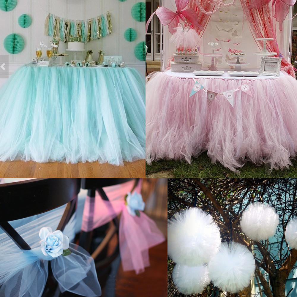 Rollo blanco de tul rollo tutú 30 cm 25 yardas DIY falda de mesa de cumpleaños decoración del banquete de boda Tulle Organza Roll festivo suministros