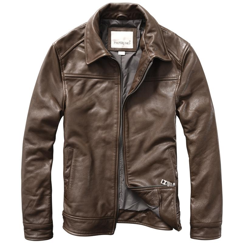 388615a1fc26 New Genuine Leather Jacket Mens Cow Leather Lapel Slim Fit Brown Jacket  Men's Clothing Winter Coat