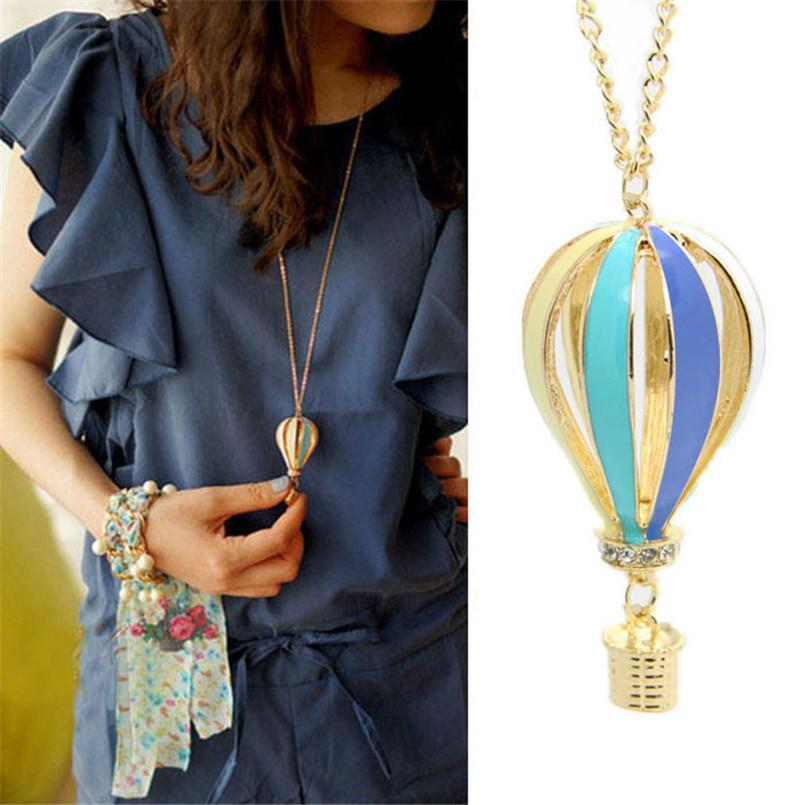 Gussy Life New Fashion Colorful Jewelry Aureate Drip Hot Air Balloon Pendant Long Necklace jun2518