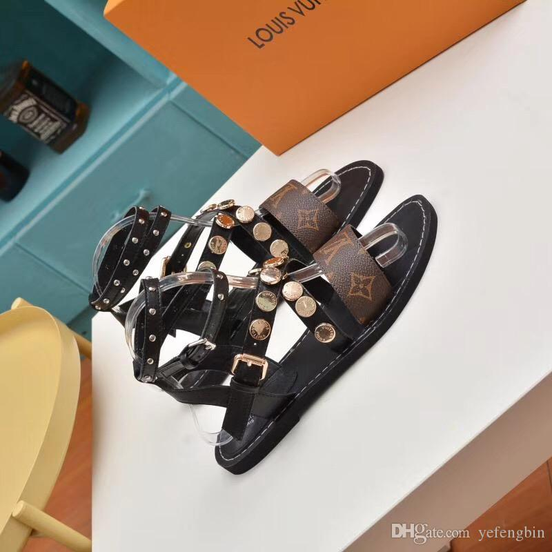 4be5fd9d08b9 2019 Popular Super Brand Designer Sandals Gladiator Sandals Are Made Of  Vintage Leather The Female Sandals Women S Shoes VI238 79 Womens Sandals  Sandals For ...
