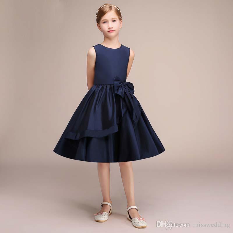 5118efe6360c Latest Navy Blue Satin Flower Girl's Dress Knee Length Formal Children Dress  Sleeveless Style 2019 Design
