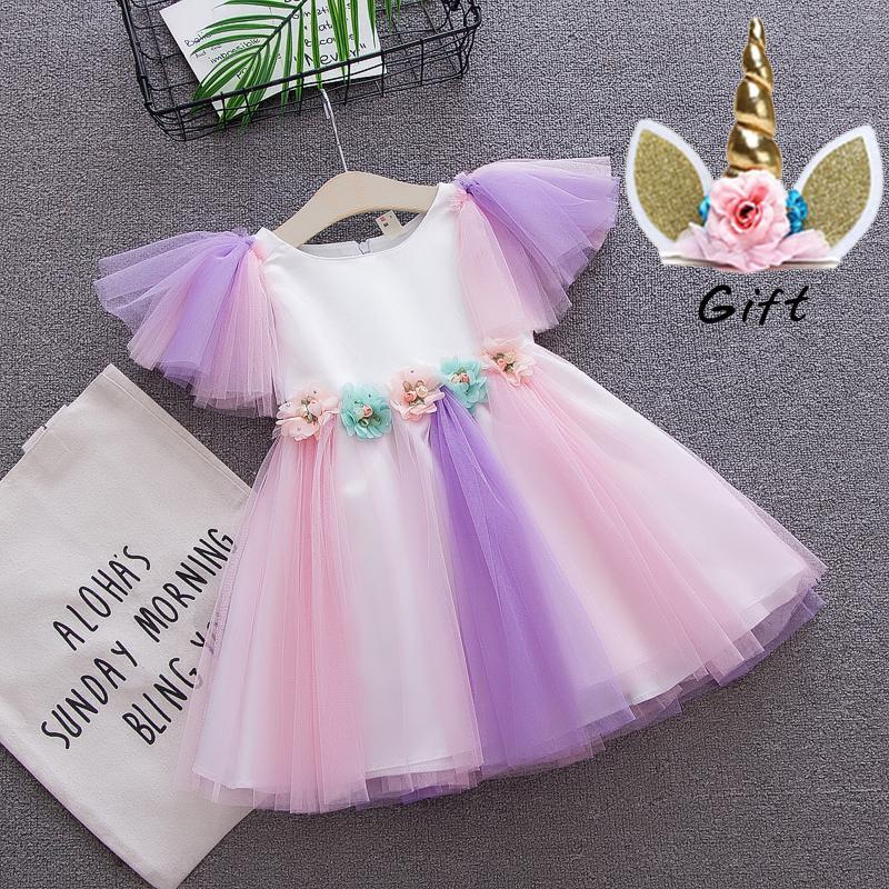 d848dd6340a0 Cartoon Unicorn toddler girls flower lace dress children rainbow colors  tulle dress+ headband lovely kids