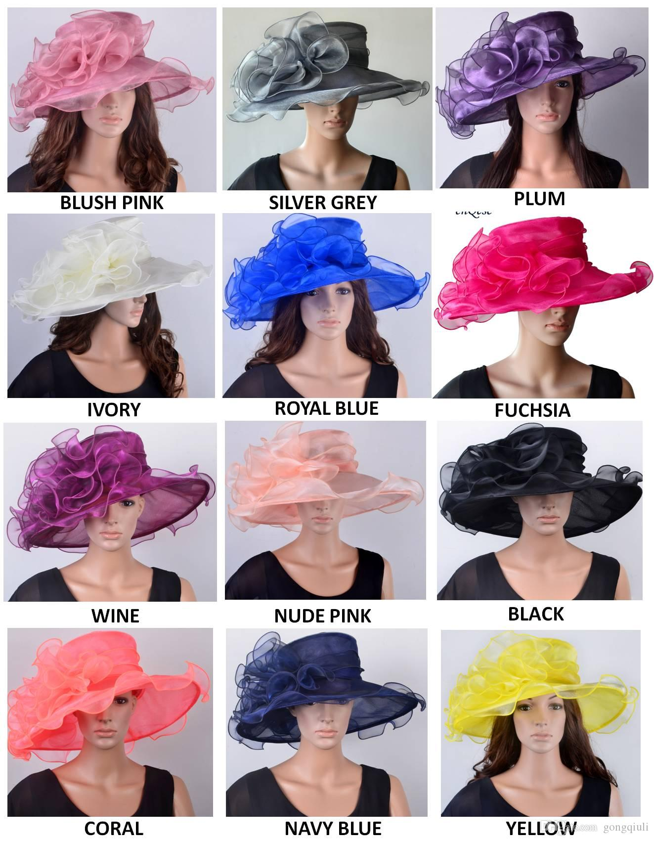 7a75bbef NEW High Quality Wide Brim Organza Hat Bridal Hat For Kentucky Derby,Wedding ,Ascot Races,Melbourne Cup,Party Ascot Hats Hats For Weddings From  Gongqiuli, ...