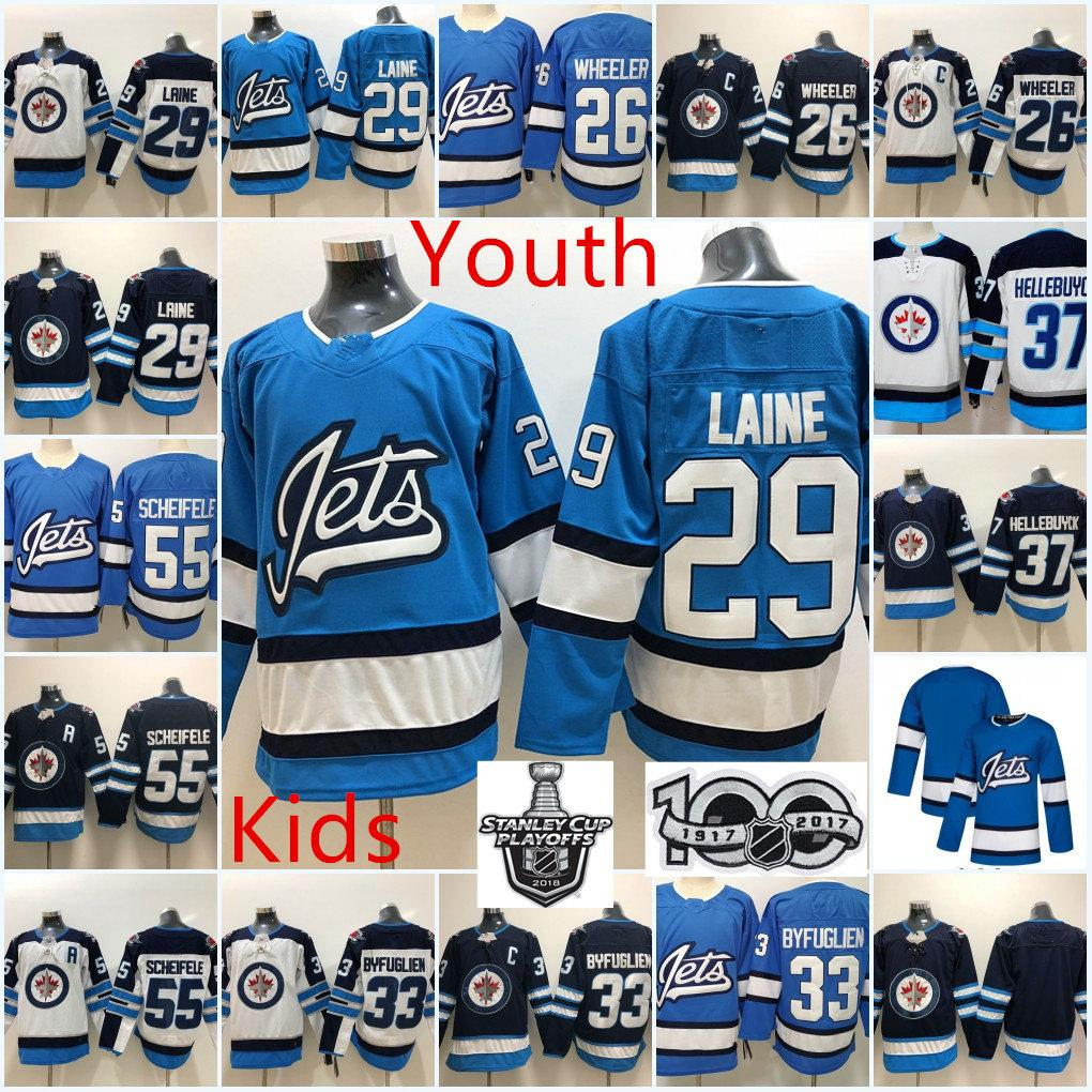 new product 91f85 c168d Youth Winnipeg Jets Blake Wheeler Jersey Kid 55 Mark Scheifele 33 Dustin  Byfuglien 29 Patrik Laine 37 Connor Hellebuyck Winnipeg Jets Jersey