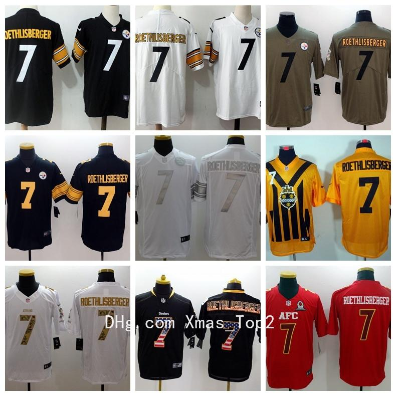 on sale 5b398 90118 New Mens 7 Ben Roethlisberger Pittsburgh Jersey Steelers Football Jerseys  Stitched Embroidery Ben Roethlisberger Color Rush Football Shirts